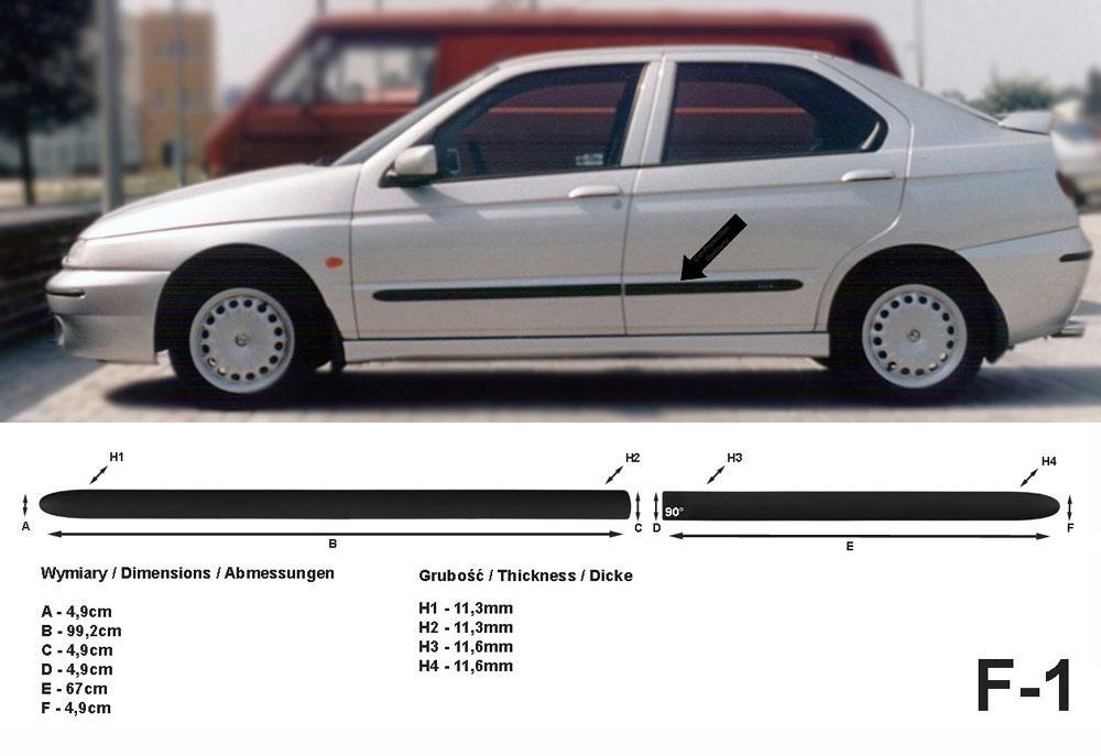 Seitenschutzleisten schwarz für Alfa Romeo 146 Schrägheck Bj. 12.1994-01.2001 F1