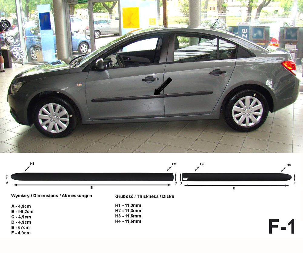 Seitenschutzleisten schwarz für Chevrolet Cruze J300 vor facelift 05.09-08.12 F1
