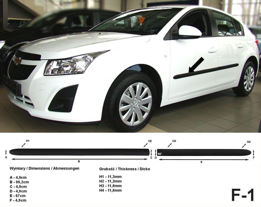 Seitenschutzleisten schwarz für Chevrolet Cruze J300 ab facelift 09.2012- F1