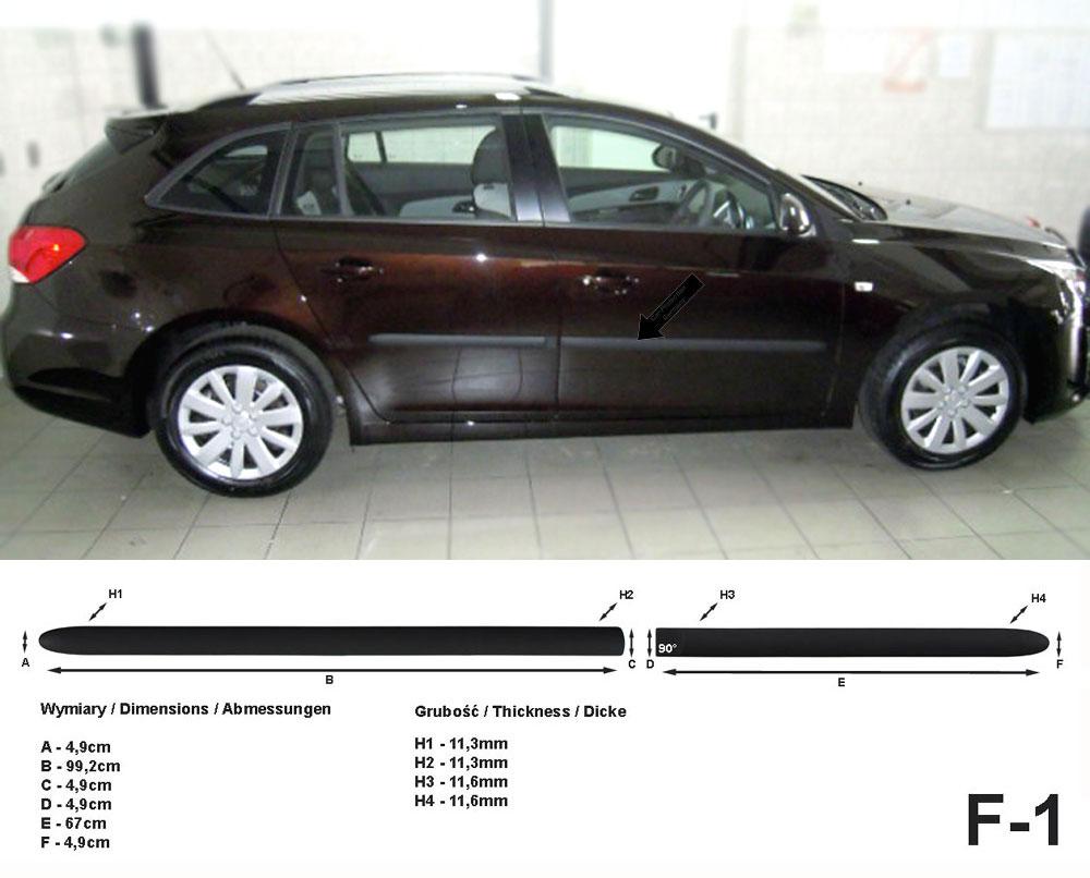 Seitenschutzleisten schwarz für Chevrolet Cruze Station Wagon J308 ab 8.2012- F1