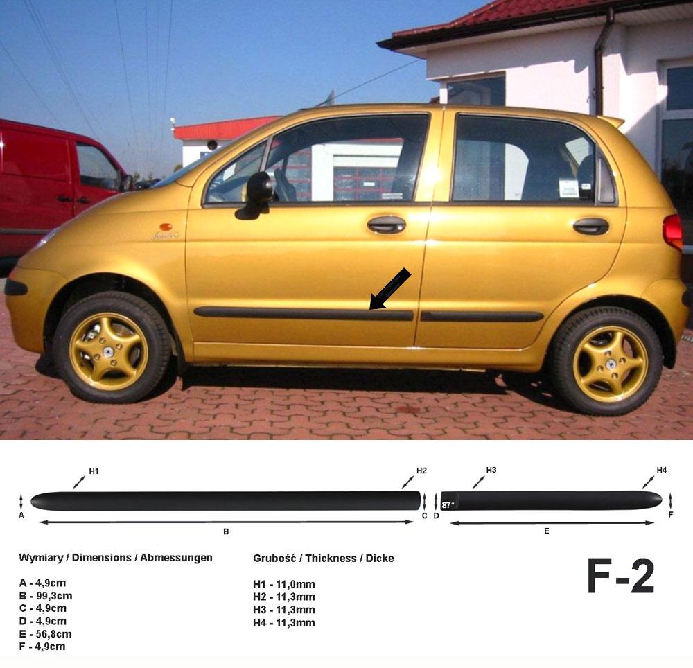 Seitenschutzleisten schwarz für Daewoo Matiz Schrägheck 08.1998-12.2004 F2