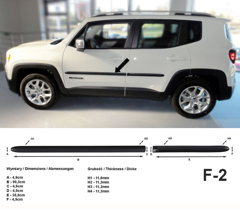Seitenschutzleisten schwarz für Jeep Renegade SUV ab Baujahr 07.2014- F2