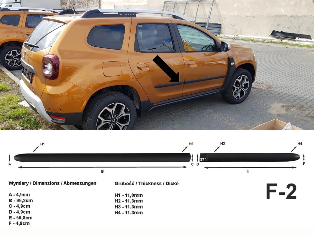 Seitenschutzleisten schwarz für Dacia Duster II SUV 2. Generation ab 10.2017- F2
