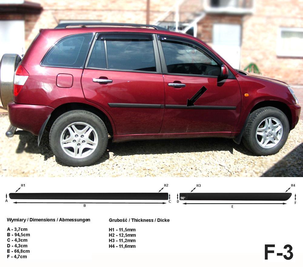 Seitenschutzleisten schwarz für Chery Tiggo SUV vor facelift Bj. 2006-2010 F3