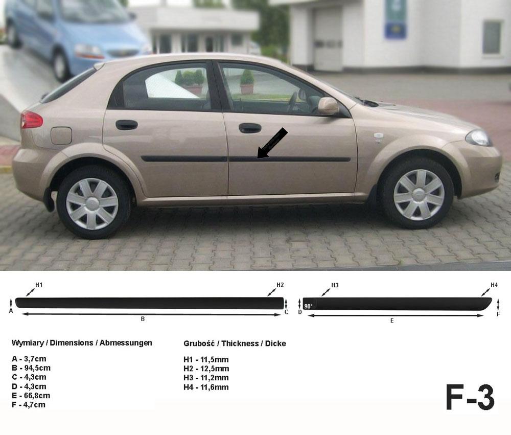 Seitenschutzleisten schwarz für Chevrolet Lacetti J200 03.2005-12.2011 F3