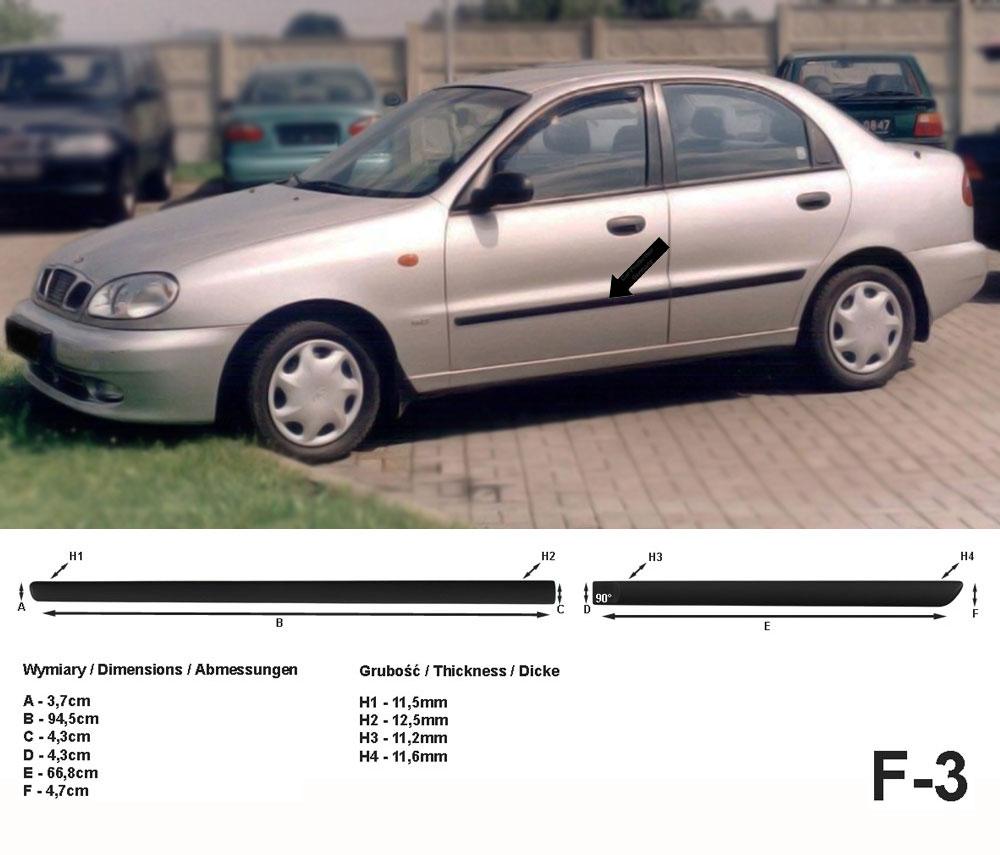 Seitenschutzleisten schwarz für Daewoo Lanos Schrägheck 5-Türer 05.97-12.04 F3