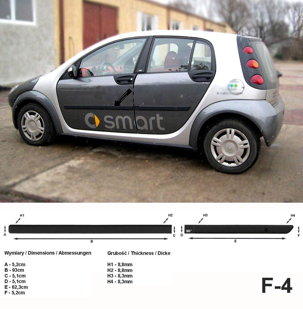 Seitenschutzleisten schwarz für Smart ForFour I W454 Schrägheck W 454 2004–06 F4