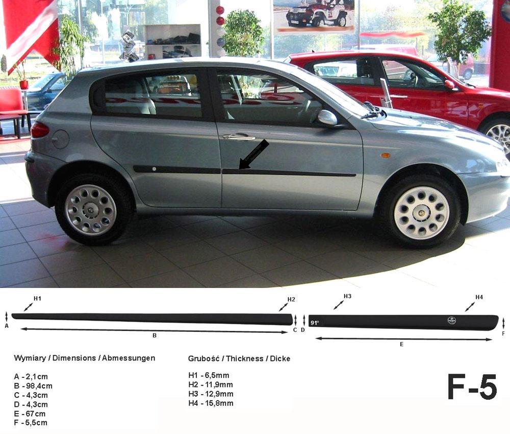 Seitenschutzleisten schwarz für Alfa Romeo 147 Schrägheck 5-Türer 01.01-03.10 F5