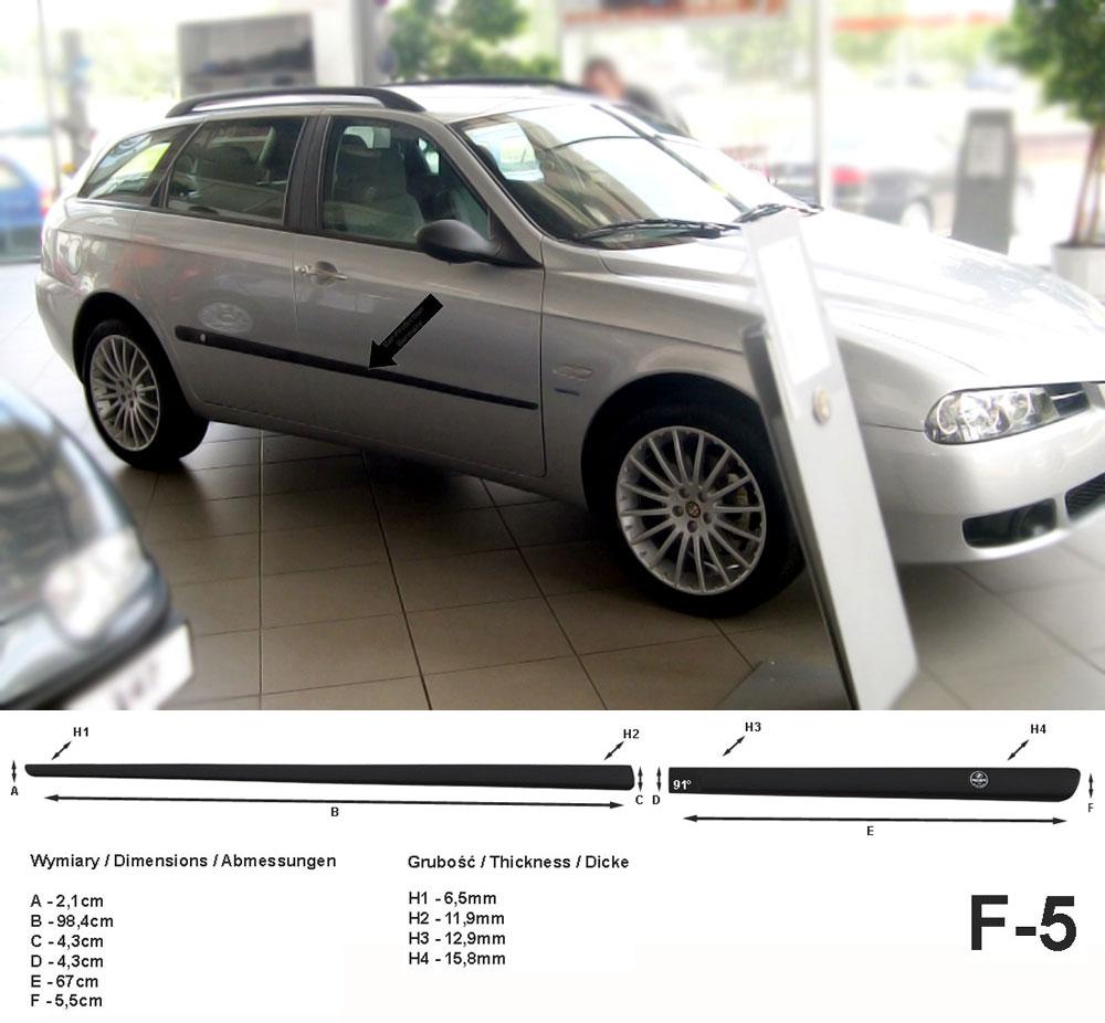 Seitenschutzleisten schwarz für Alfa Romeo 156 SW Sportwagon Kombi 2000-2006 F5