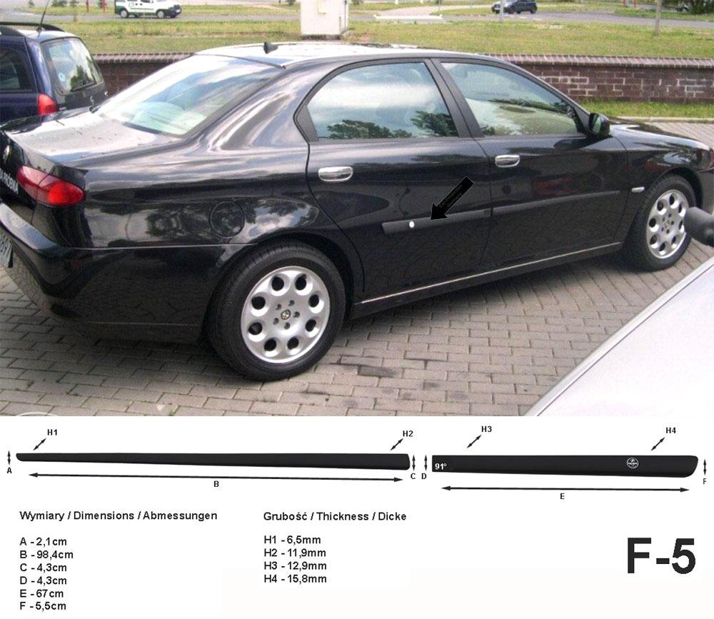 Seitenschutzleisten schwarz für Alfa Romeo 166 Limousine Bj. 09.1998-06.2007 F5