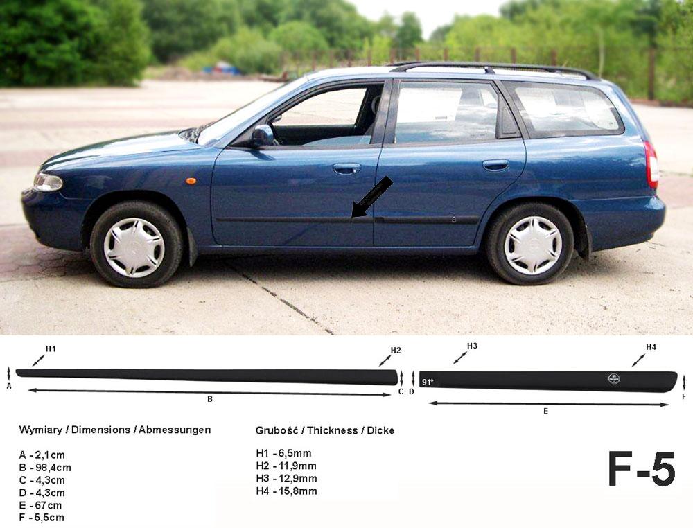 Seitenschutzleisten schwarz für Daewoo Nubira I Kombi J100 1. Gen. 1997-1999 F5