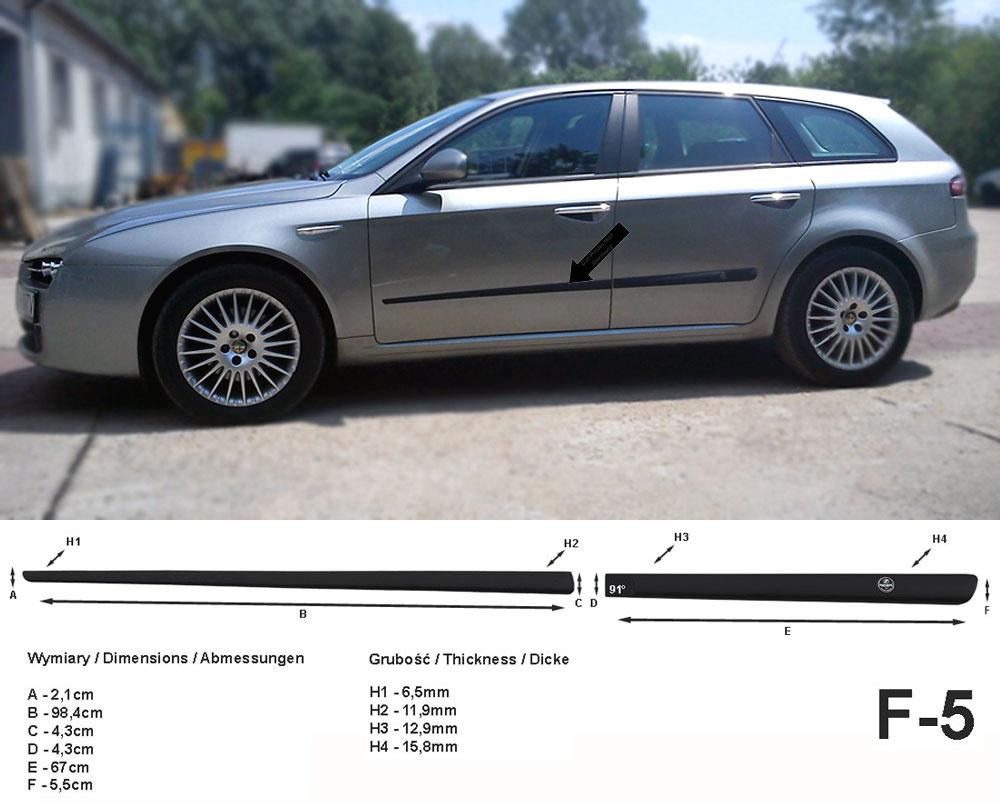 Seitenschutzleisten schwarz für Alfa Romeo 159 SW Sportwagon 03.2006-11.2011 F5
