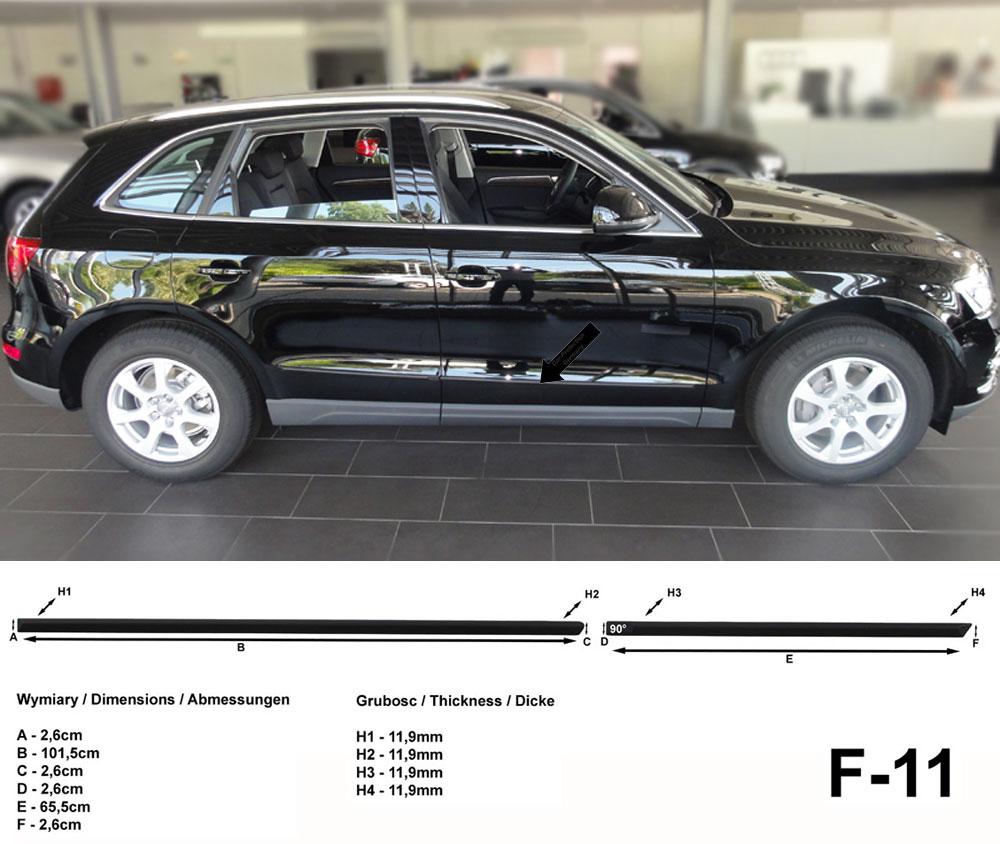 Seitenschutzleisten schwarz für Audi Q5 SUV Typ 8R ab Baujahr 11.2008- F11