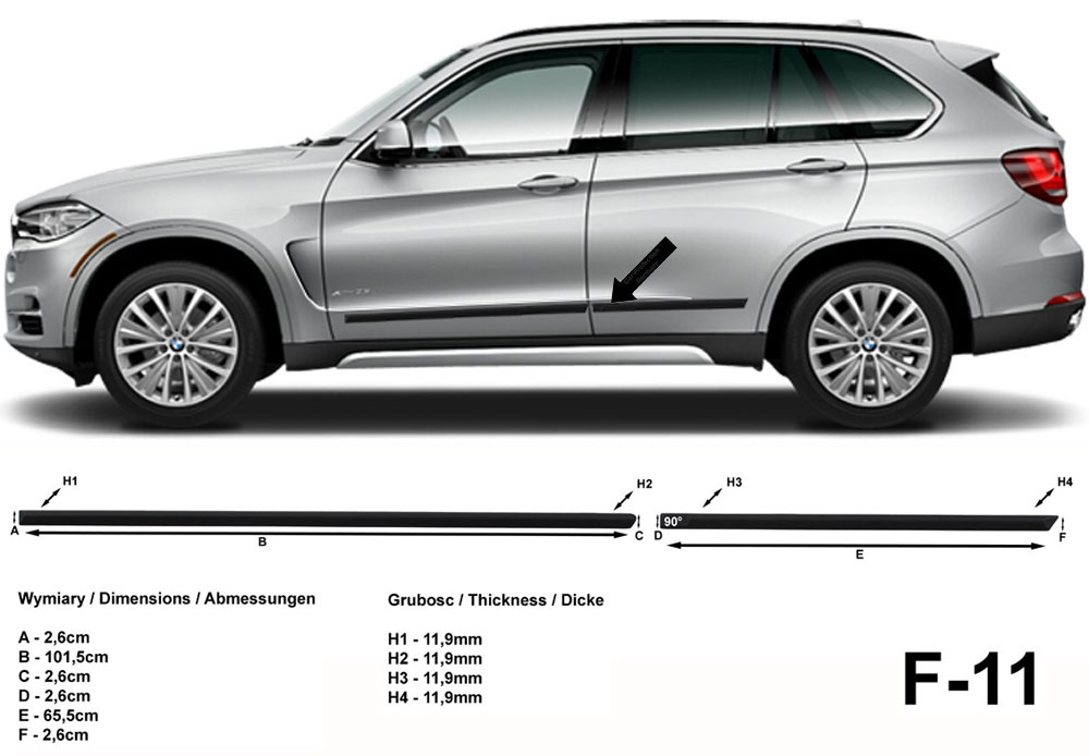 Seitenschutzleisten schwarz für BMW X5 Typ F15 SUV ab Baujahr 07.2013- F11