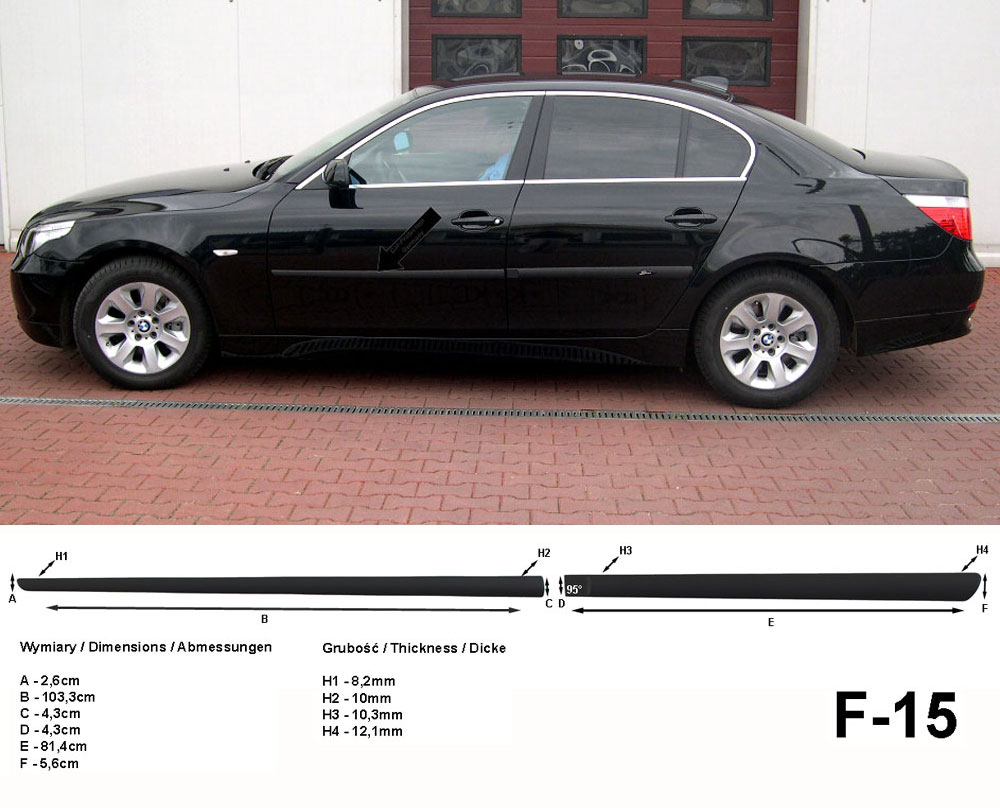 Seitenschutzleisten schwarz für BMW 5er E60 Limousine 4-Türer 7.2003-3.2010 F15