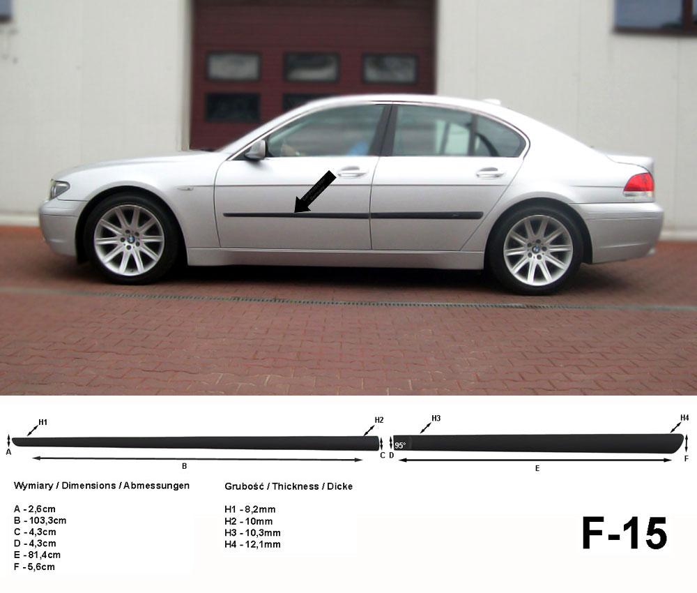 Seitenschutzleisten schwarz für BMW 7er F01 Limousine Bj. 02.2008-12.2015 F15