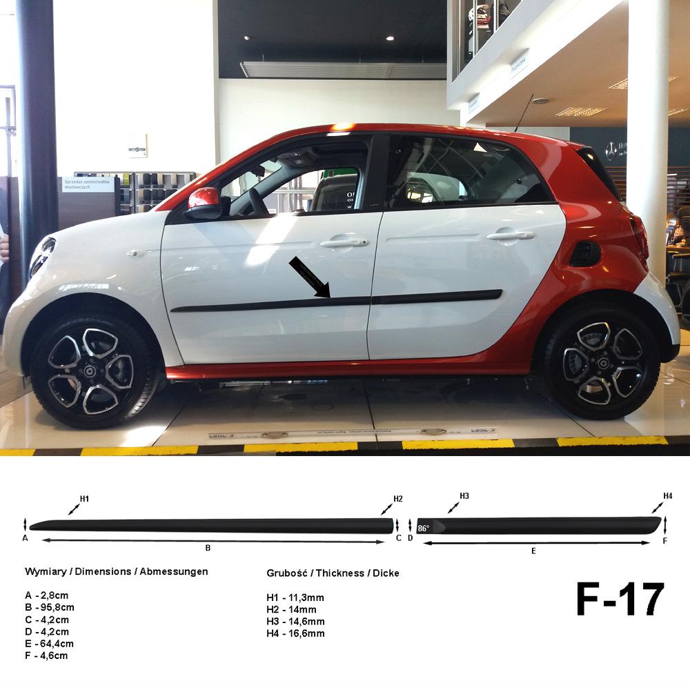 Seitenschutzleisten schwarz für Smart ForFour II W453 Schrägheck W 453 2014- F17