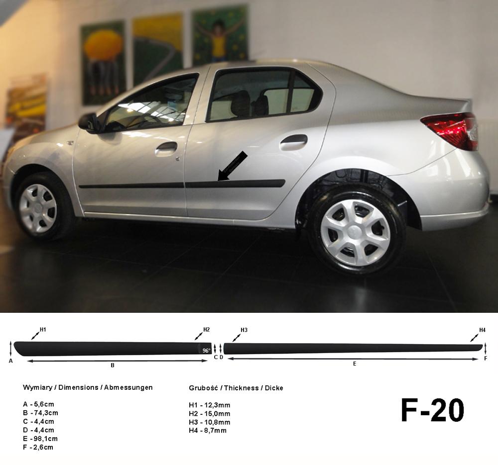 Seitenschutzleisten schwarz für Dacia Logan II SD & MCV 2. Gen. ab 10.2012- F20