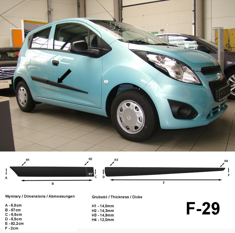 Seitenschutzleisten schwarz für Chevrolet Spark ab Baujahr 03.2010- F29