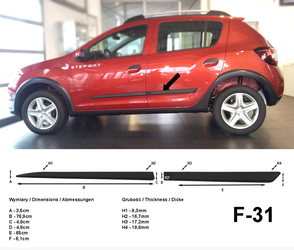 Seitenschutzleisten schwarz für Dacia Sandero Stepway II 2. Gen. ab 10.2012- F31