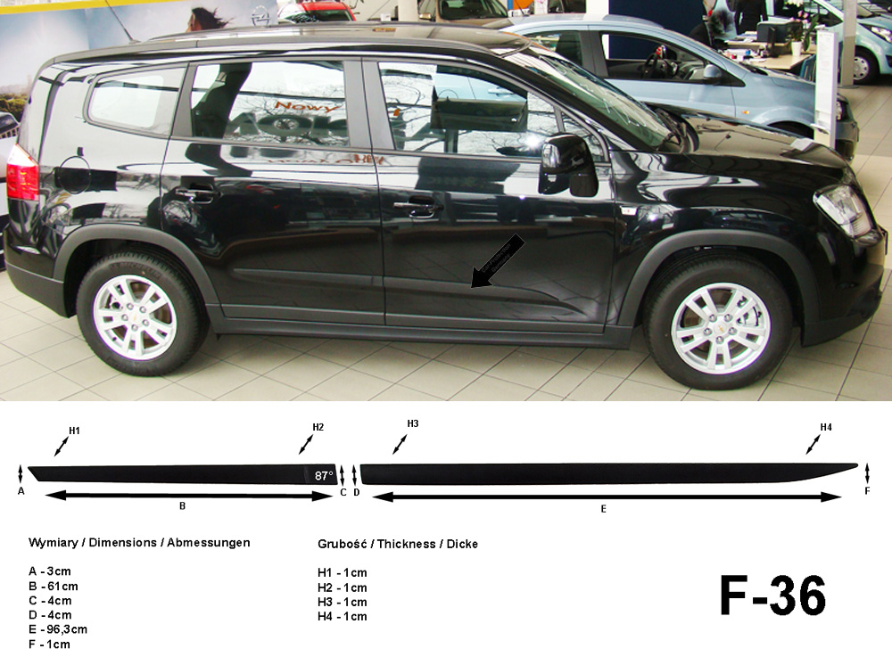 Seitenschutzleisten schwarz für Chevrolet Orlando J309 Kombi ab 02.2011- F36