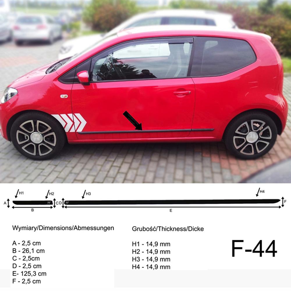 F43 Spangenberg Seitenschutzleisten schwarz f/ür Volkswagen VW up Schr/ägheck 5-T/ürer UP ab Baujahr 2012 370004305
