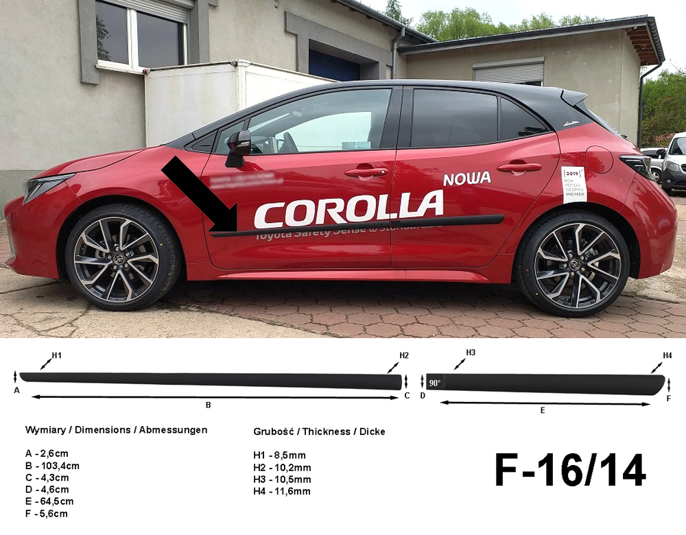 Seitenschutzleisten für Toyota Corolla 5-Türer Schrägheck Typ E210 2018- F16/14