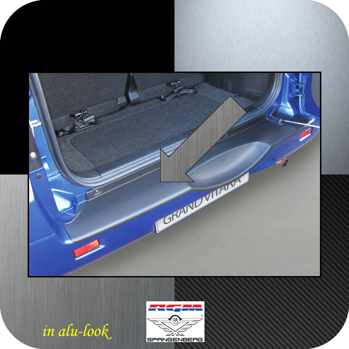 Ladekantenschutz Alu-Look Suzuki Grand Vitara II Radhalter 2005-2015 3504553