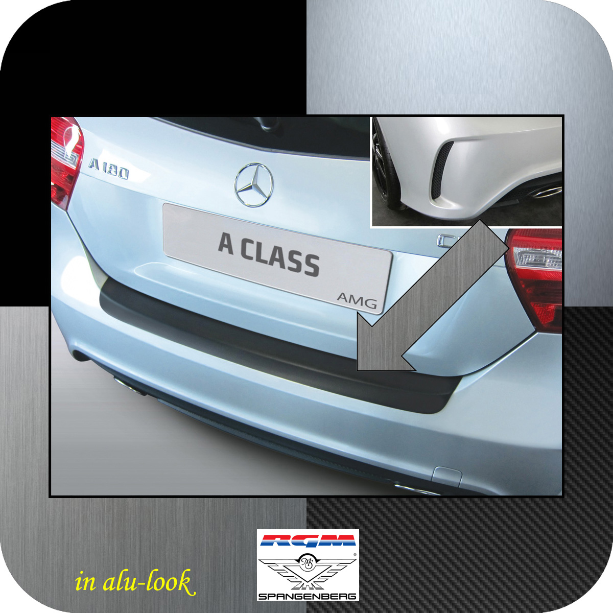 Ladekantenschutz Alu-look Mercedes A-Klasse W176 2012- nur 45 AMG & 250 3504951