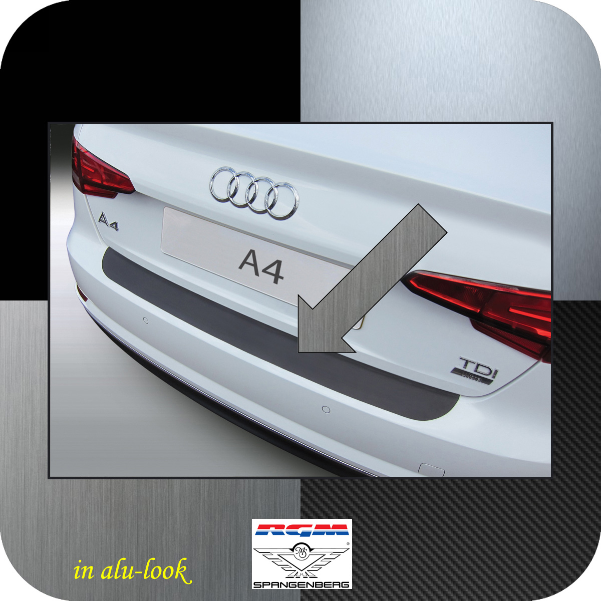 Ladekantenschutz Alu-Look Audi A4 B9 Limousine 4-Türer ab Baujahr 2015- 3504960