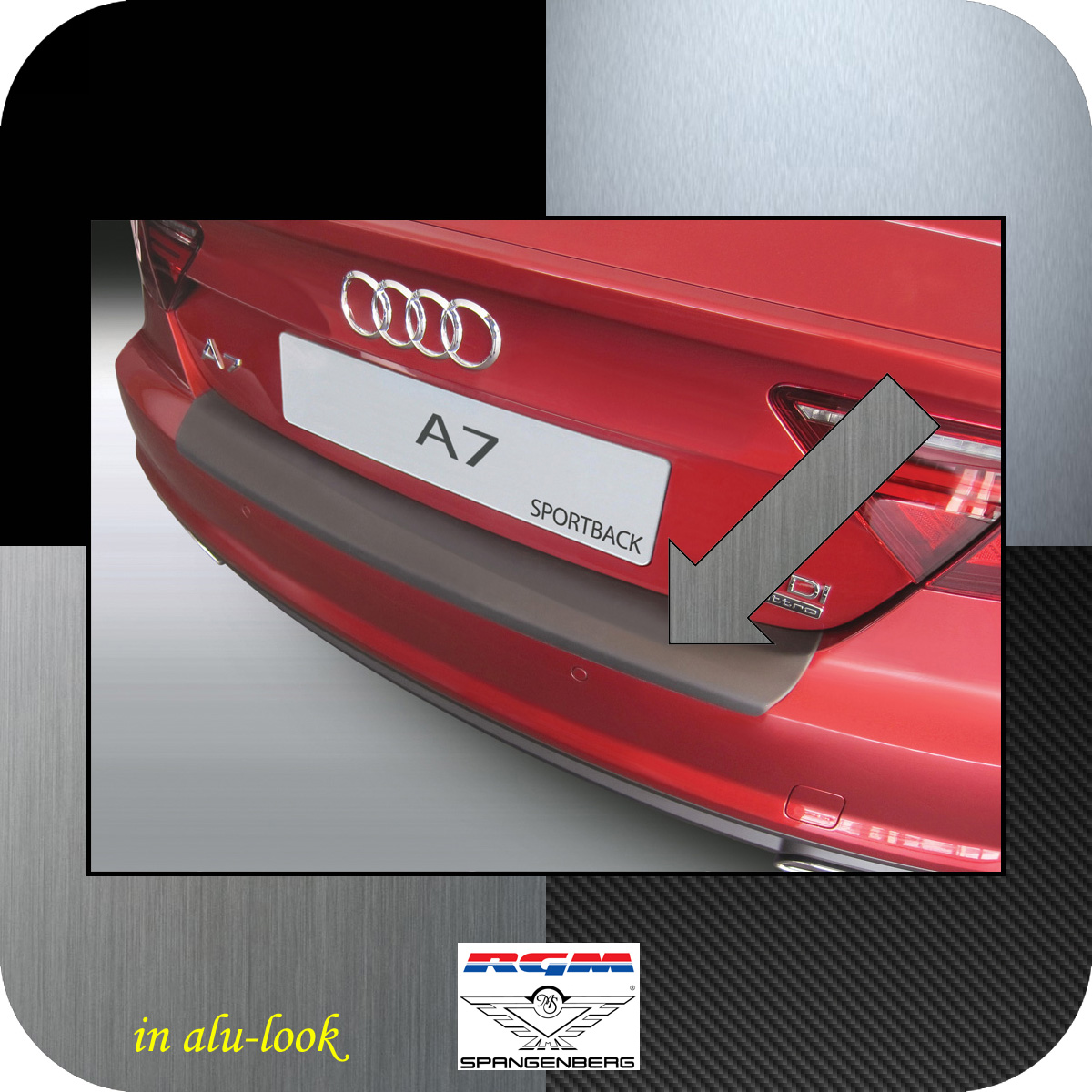 Ladekantenschutz Alu Look Audi A7 Rs7 5 Trer Sportback Bj 2017 18 With A Red Colour 3504991