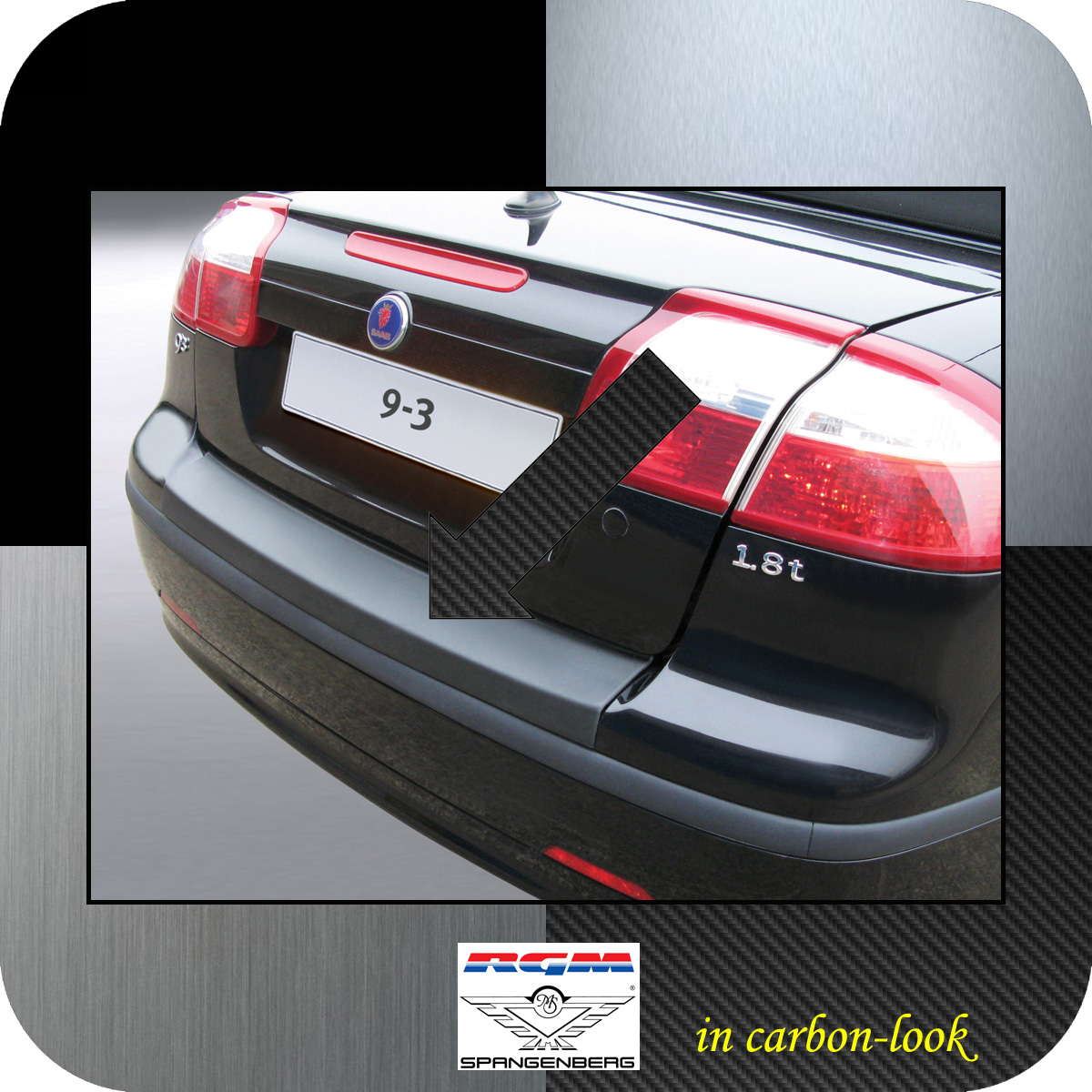 Ladekantenschutz Carbon-Look Saab 9-3 II Cabrio 2-türig vor Mopf 2003-07 3509403