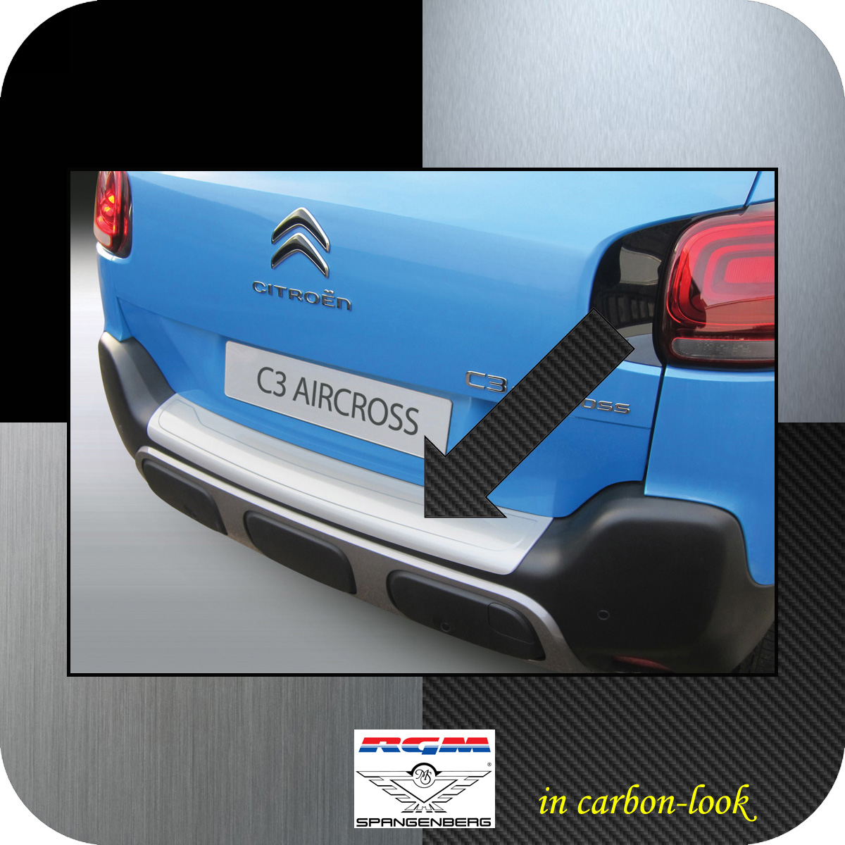 Ladekantenschutz Carbon-Look Citroen C3 Aircross ab Baujahr 11.2017- 3509629