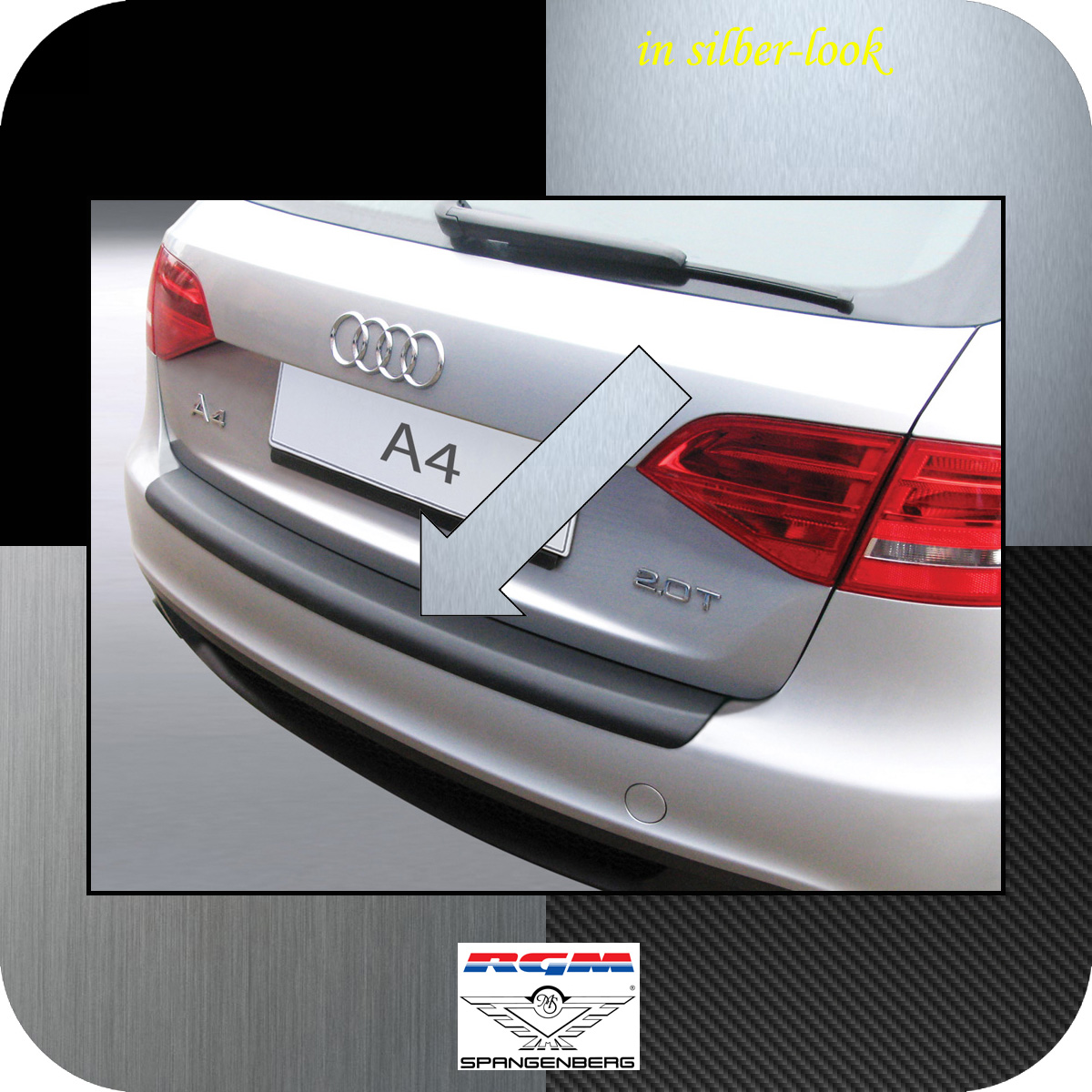 Ladekantenschutz Silber-Look Audi A4 B8 Avant Kombi vor facelift 2008-11 3506159