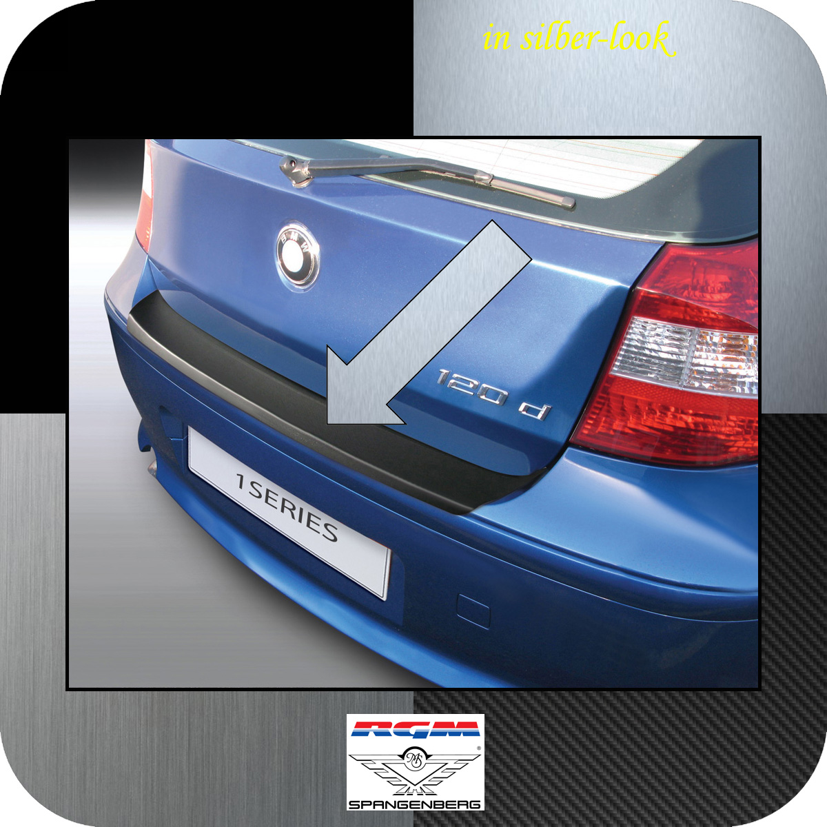 Ladekantenschutz Silber-Look BMW 1er E81 E87 Schrägheck vor Mopf 2003-07 3506441